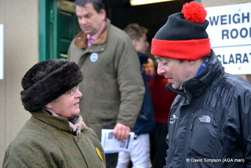 Harry Fowler (Tattersalls Director) and Jen Hancox are deep in conversation