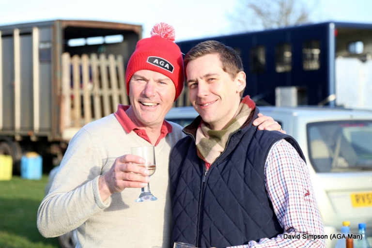 Simon Hart and Martyn Leafe enjoy cheeky glass of bubbly to celebrate a well earned win for Kazuri Kate