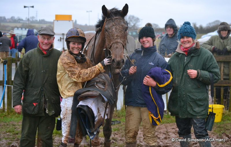 Even more mud for Jane Williams but she doesn't care as a win in the Open Maiden on Hazel Hill has just clinched a double (her first as a trainer)