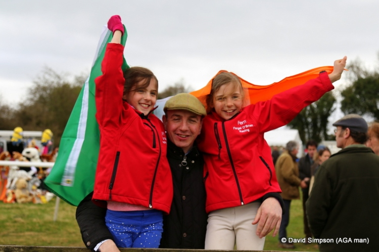 Fergal O'Brien and his girls (Daisy and Fern) fly the flag for Team Ireland