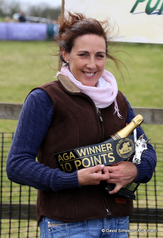 Jo cradles her armful of goodies, including her AGA points sticker