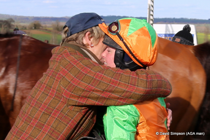 A hug for Harty after leg three of the treble