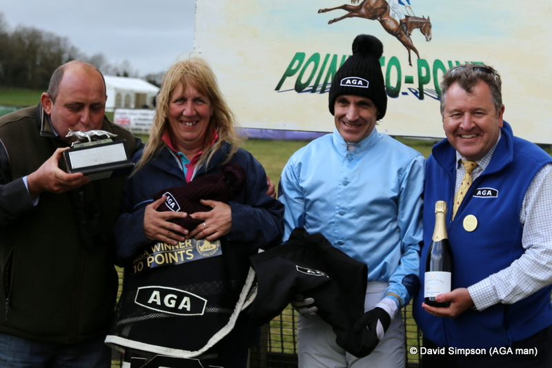 A great end to the day as Gary kisses the trophy, Amanda clutches the AGA rug and Geoff Barfoot-Saunt receives his AGA goodies