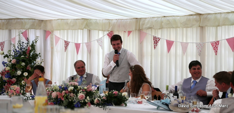 The groom was next up, with plenty of one liners... plus a couple of broom sticks!